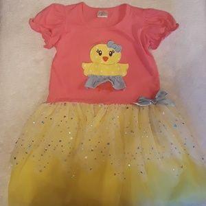 Girls Pink & Yellow Duck Dress Size XXL